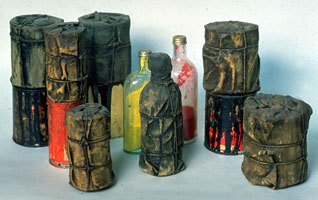 Christo-Wrapped-Cans-and-Bottles1958-1959