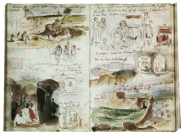 2-V40-A12-1832-3 (811908) E.Delacroix, Skizzen Marokko 1832 Delacroix, EugËne; 1798-1863. - Skizzenheft der Reise nach Marokko. - (Doppelseite). Zeichnungen, MeknËs, 1. April 1832. Feder und Aquarell, je 19,3 x 12,7 cm. Cat.160, RF 1712 Cabinet des Dessins, E: Delacroix / Sketches / Morocco / 1832 Delacroix, EugËne; 1798-1863. - Sketchbook from the trip to Morocco. - (Double spread). Drawings, MeknËs, 1 April 1832. Ink and watercolour, 19.3 x 12.7 cm (each page), Cat. 160, RF 1712 Cabinet des Dessins, F: Delacroix, croquis, Maroc / 1832 Delacroix, EugËne ; 1798-1863. - Carnet de croquis de voyage au Maroc. - (Double page). Dessins, MeknËs, 1er avril 1832. Plume et aquarelle, H. 0,193 ; L. 0,127 chaque. Cat.160, RF 1712 Cabinet des Dessins,