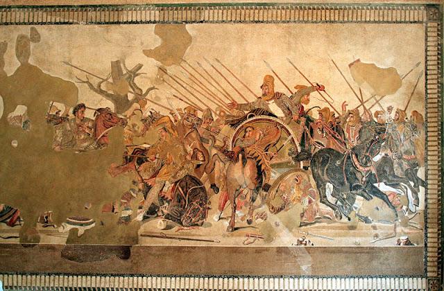 Mosaique Alexandre bataille Issos,maison du Faune, Pompei, II s avJC, ms. arch. Naples